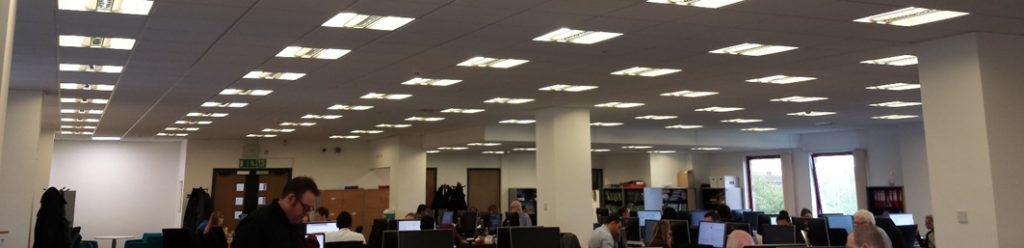 Before: fluorescent lighting is inefficient and dim