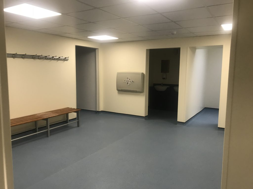 Changing rooms with new LED lighting