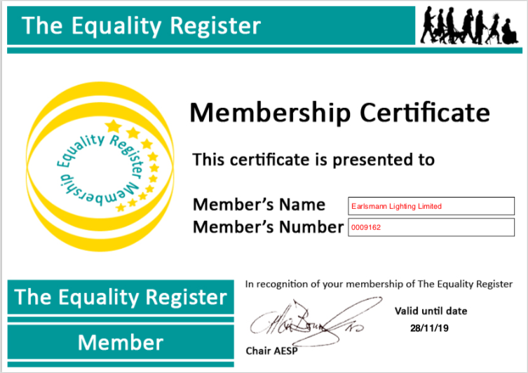 The Equality Register Certificate