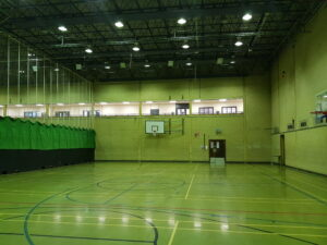 Tolworth sport hall led lighting before